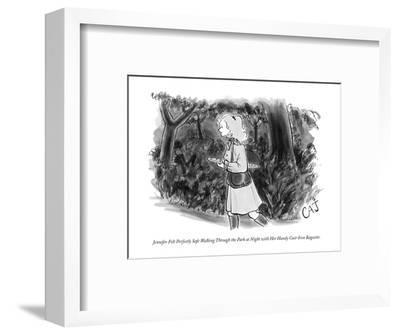 Jennifer Felt Perfectly Safe Walking Through the Park at Night with Her Ha? - New Yorker Cartoon-Carolita Johnson-Framed Premium Giclee Print