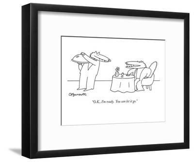 """""""O.K., I'm ready.  You can let it go."""" - New Yorker Cartoon-Charles Barsotti-Framed Premium Giclee Print"""