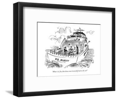 """""""What is it, Ira, that draws man inexorably back to the sea?"""" - New Yorker Cartoon-Lee Lorenz-Framed Premium Giclee Print"""