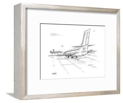 Jet airliner on runway with 'How's my Flying?  800 - 389 - 7499' painted b? - New Yorker Cartoon-Christopher Weyant-Framed Premium Giclee Print