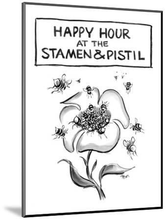 Happy hour at the stamen and pistil. - New Yorker Cartoon-Lee Lorenz-Mounted Premium Giclee Print