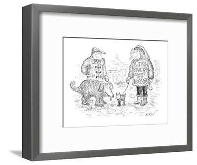 """Two people walking their dogs, one has a shirt that says """"LET'S TALK ABOUT?"""" - New Yorker Cartoon-Edward Koren-Framed Premium Giclee Print"""