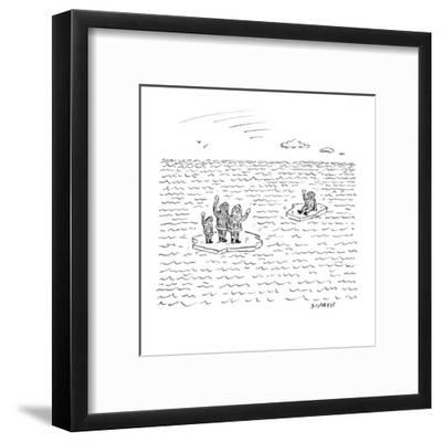 An Eskimo man floats away from his family. Both are on small bits of ice. - New Yorker Cartoon-David Sipress-Framed Premium Giclee Print