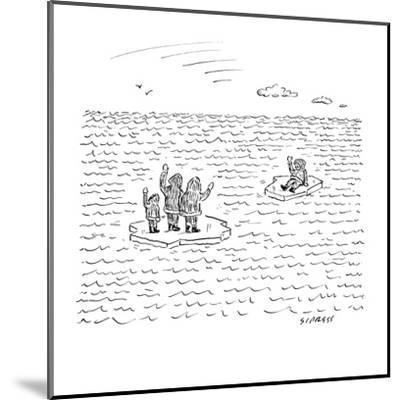 An Eskimo man floats away from his family. Both are on small bits of ice. - New Yorker Cartoon-David Sipress-Mounted Premium Giclee Print