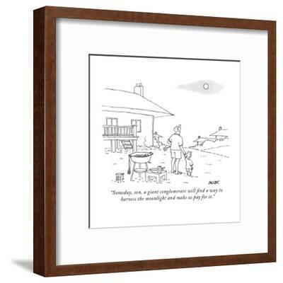 """""""Someday, son, a giant conglomerate will find a way to harness the moonlig?"""" - New Yorker Cartoon-Jack Ziegler-Framed Premium Giclee Print"""