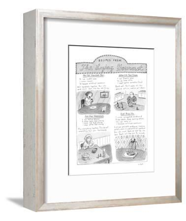 Receipes From The Lying Gourmet - New Yorker Cartoon-Roz Chast-Framed Premium Giclee Print