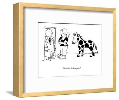 """The zebra broke again."" - New Yorker Cartoon-Ariel Molvig-Framed Premium Giclee Print"