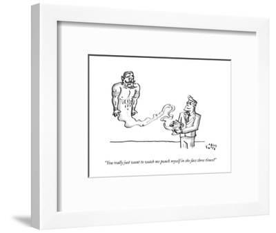 """""""You really just want to watch me punch myself in the face three times?"""" - New Yorker Cartoon-Farley Katz-Framed Premium Giclee Print"""