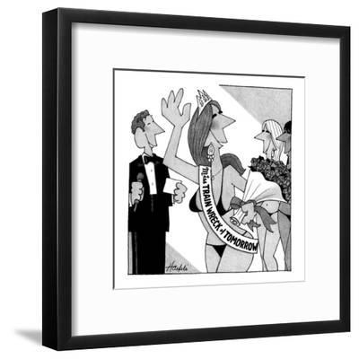 Miss Train Wreck of Tomorrow pageant. - New Yorker Cartoon-William Haefeli-Framed Premium Giclee Print