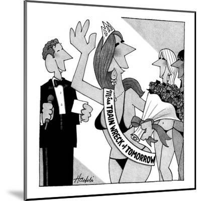 Miss Train Wreck of Tomorrow pageant. - New Yorker Cartoon-William Haefeli-Mounted Premium Giclee Print