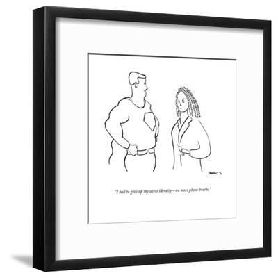 """""""I had to give up my secret identity?no more phone booths."""" - New Yorker Cartoon-Michael Shaw-Framed Premium Giclee Print"""