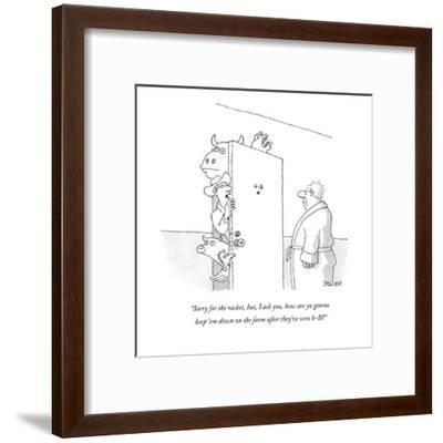 """Sorry for the racket, but, I ask you, how are ya gonna keep 'em down on t?"" - New Yorker Cartoon-Jack Ziegler-Framed Premium Giclee Print"