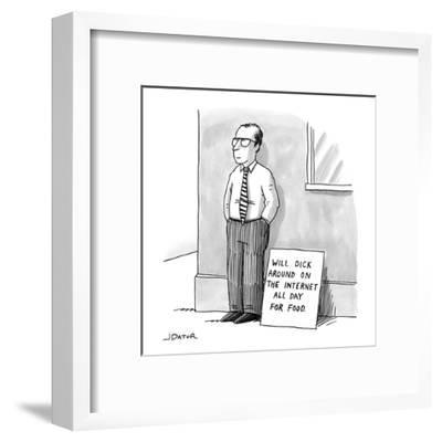 A man with glasses and a tie is standing on a street corner beside a sign ? - New Yorker Cartoon-Joe Dator-Framed Premium Giclee Print