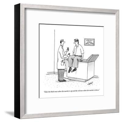 """""""Take the black ones when the market is up and the red ones when the marke?"""" - New Yorker Cartoon-Tom Cheney-Framed Premium Giclee Print"""