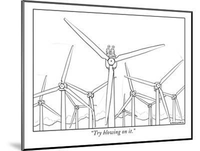 """""""Try blowing on it."""" - New Yorker Cartoon-Alex Gregory-Mounted Premium Giclee Print"""