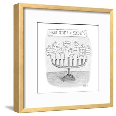Menorah details why it was never lit during the holiday. - New Yorker Cartoon-Roz Chast-Framed Premium Giclee Print