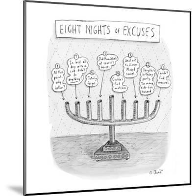 Menorah details why it was never lit during the holiday. - New Yorker Cartoon-Roz Chast-Mounted Premium Giclee Print