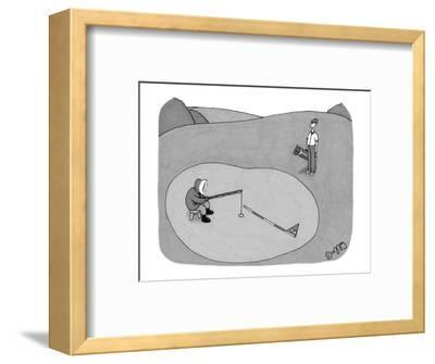 Inuit fishing on a golf green. - New Yorker Cartoon-J.C. Duffy-Framed Premium Giclee Print