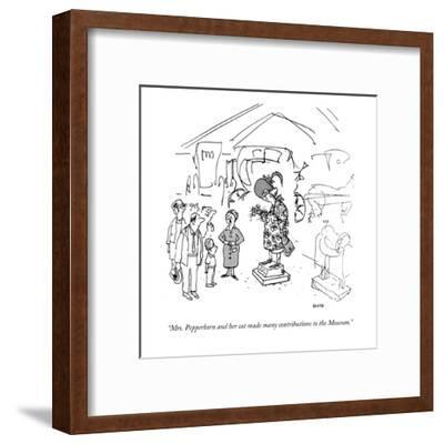 """""""Mrs. Pepperkorn and her cat made many contributions to the Museum."""" - New Yorker Cartoon-George Booth-Framed Premium Giclee Print"""