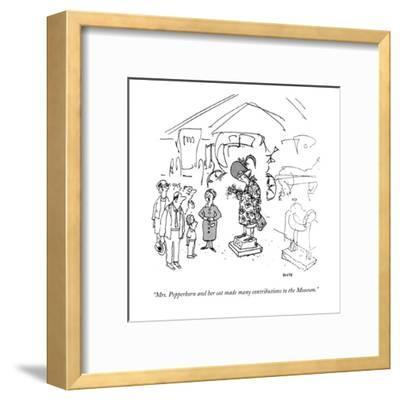 """Mrs. Pepperkorn and her cat made many contributions to the Museum."" - New Yorker Cartoon-George Booth-Framed Premium Giclee Print"