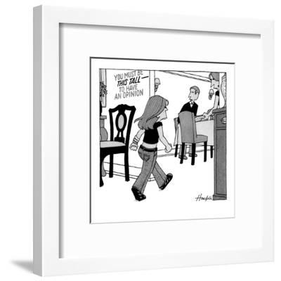 Child entering dining room with sign on wall that reads, 'You Must Be This? - New Yorker Cartoon-William Haefeli-Framed Premium Giclee Print