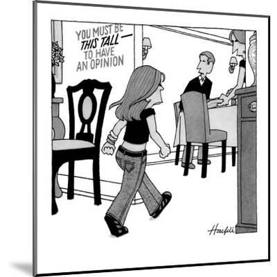 Child entering dining room with sign on wall that reads, 'You Must Be This? - New Yorker Cartoon-William Haefeli-Mounted Premium Giclee Print