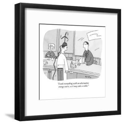 """""""I cook everything with an alternative energy source, so it may take a whi?"""" - New Yorker Cartoon-Peter C. Vey-Framed Premium Giclee Print"""