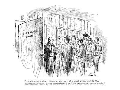 """Gentlemen, nothing stands in the way of a final accord except that manage?"" - New Yorker Cartoon-Alan Dunn-Framed Premium Giclee Print"