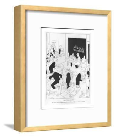 Industrial Crises-The Man Who Stepped into a Western Union Of?ce to Addres? - New Yorker Cartoon-Gluyas Williams-Framed Premium Giclee Print