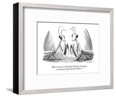 """""""After we have sex but before I kill you, I'm going to need your help with?"""" - New Yorker Cartoon-Joe Dator-Framed Premium Giclee Print"""