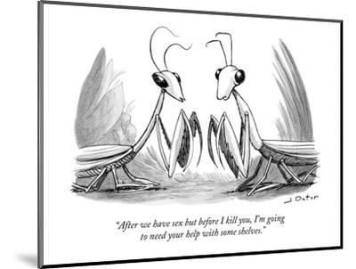 """""""After we have sex but before I kill you, I'm going to need your help with?"""" - New Yorker Cartoon-Joe Dator-Mounted Premium Giclee Print"""