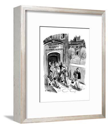 Students leaving campus of the College of Business Administration are all ? - New Yorker Cartoon-Barney Tobey-Framed Premium Giclee Print