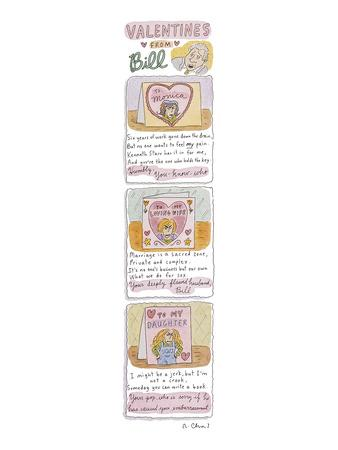 Valentines from Bill - New Yorker Cartoon-Roz Chast-Framed Premium Giclee Print