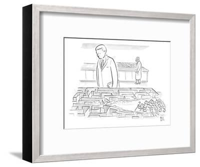 A laboratory scientist looks on as the walls of a small maze are divided b? - New Yorker Cartoon-Paul Noth-Framed Premium Giclee Print