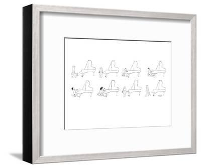 A bald pianist takes his place at the piano. As he plays more and more fra? - New Yorker Cartoon-Mischa Richter-Framed Premium Giclee Print