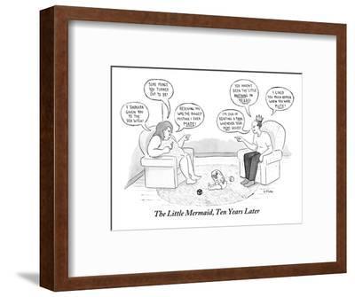 The Little Mermaid, Ten Years Later - New Yorker Cartoon-Emily Flake-Framed Premium Giclee Print