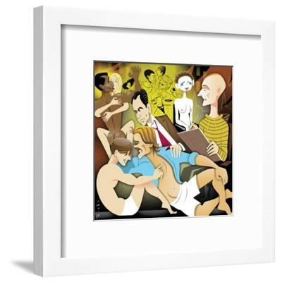 Illustration of people engaging in sexual activities. - New Yorker Cartoon-Robert Risko-Framed Premium Giclee Print