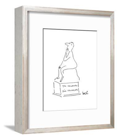 Statue of a man thinking with an inscription on the base that says; 'I'm T? - Cartoon-Arnie Levin-Framed Premium Giclee Print