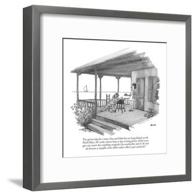 """""""I've got an idea for a story: Gus and Ethel live on Long Island, on the N?"""" - New Yorker Cartoon-George Booth-Framed Premium Giclee Print"""
