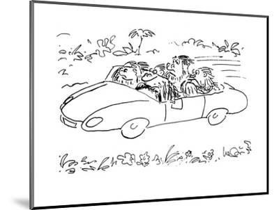 Ape driving car with three others, 'speak no evil,'  'hear no evil,' and '? - Cartoon-Arnie Levin-Mounted Premium Giclee Print