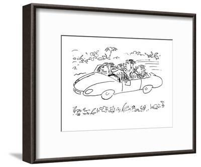 Ape driving car with three others, 'speak no evil,'  'hear no evil,' and '? - Cartoon-Arnie Levin-Framed Premium Giclee Print