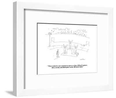"""This is indeed a rare moment in sports as Alrey Gillsnef captures first, ?"" - Cartoon-Michael Maslin-Framed Premium Giclee Print"