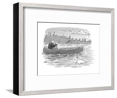 canoeist passes duck whose head is shaped like fingers?fingers held in suc? - Cartoon-John Jonik-Framed Premium Giclee Print