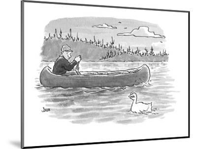 canoeist passes duck whose head is shaped like fingers?fingers held in suc? - Cartoon-John Jonik-Mounted Premium Giclee Print