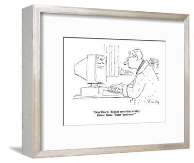 """""""Dear Diary:  Repeat yesterday's entry.  Delete 'ham.'  Enter 'pastrami.'"""" - Cartoon-Mike Twohy-Framed Premium Giclee Print"""