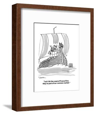 """""""Let's hit the coast of France first;  they're part of our common market."""" - Cartoon-Boris Drucker-Framed Premium Giclee Print"""