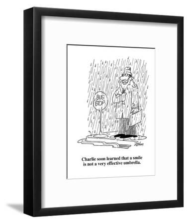 Charlie soon learned that a smile is not a very effective umbrella.  - Cartoon-Bob Zahn-Framed Premium Giclee Print