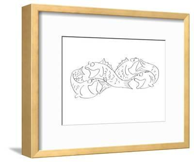 Group of fish chasing each others tail's. - Cartoon-Arnie Levin-Framed Premium Giclee Print
