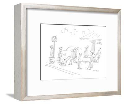 All pedestrians on the sidewalk are smiling; there's street sign whose des? - Cartoon-Liza Donnelly-Framed Premium Giclee Print
