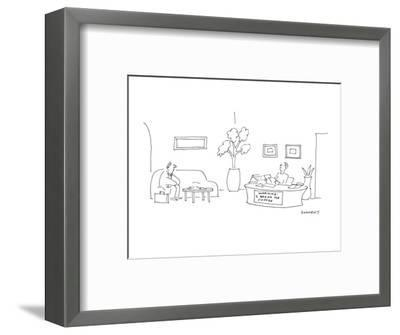 At a desk where the secretary is sitting there is a sign that reads 'WARNI? - Cartoon-Liza Donnelly-Framed Premium Giclee Print